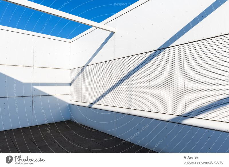 shadow play Architecture Deserted Manmade structures Building Wall (barrier) Wall (building) Facade Balcony Terrace Roof Stone Concrete Bright Blue Gray Black