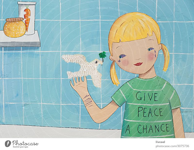 give peace a chance, graffiti Lifestyle Elegant Style Design Beach Ocean Child Art Artist Work of art Painting and drawing (object) Street Bird Graffiti