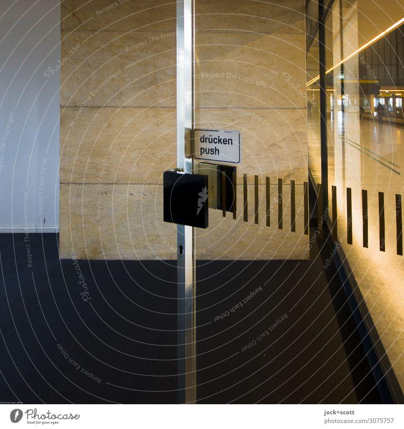 pushen Airport Berlin-Tempelhof Building Departure lounge Wall (barrier) Wall (building) Door Room Door handle Characters Signage Warning sign Line Simple Free