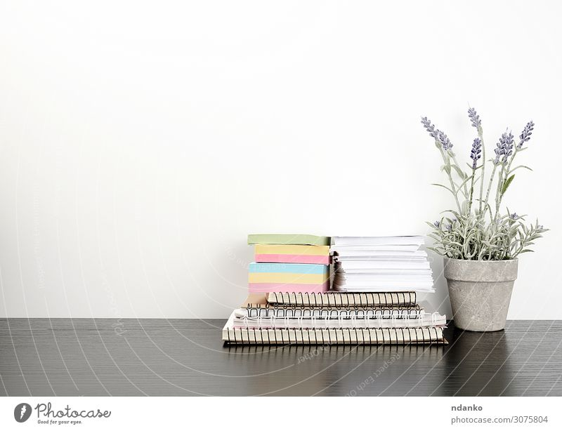 a stack of spiral notebooks and colored stickers Pot Lifestyle Table School Work and employment Workplace Office Business Flower Paper Wood Write Green White