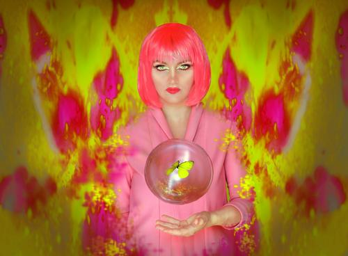 Get your butterfly out of your stomach! pink Yellow Butterfly Wig Bubble Future Present Day Pink Resurrect Grand piano Colour Multicoloured Summer segregated