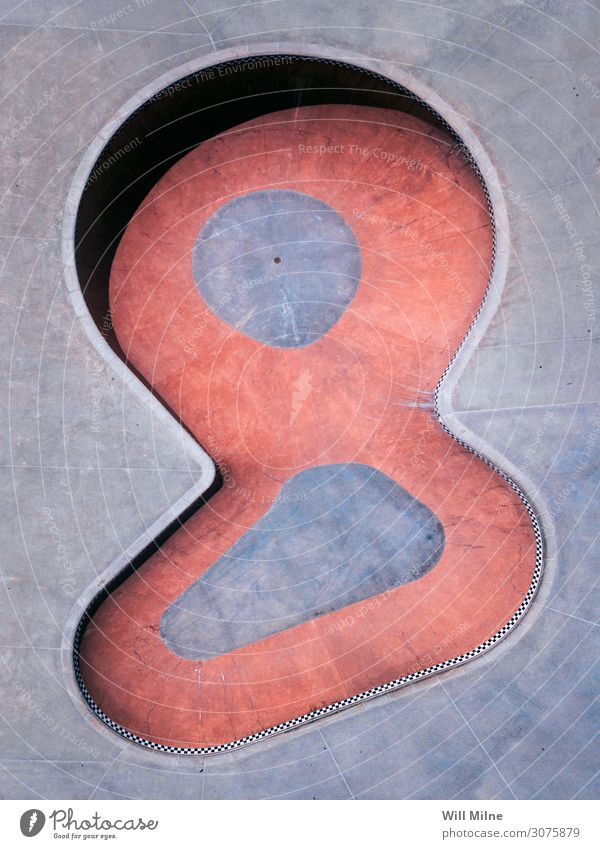 Bowl at a Skatepark from Above Skateboarding Board Drone Aircraft Inline skating Joy Simple Minimal Red Skate park Park