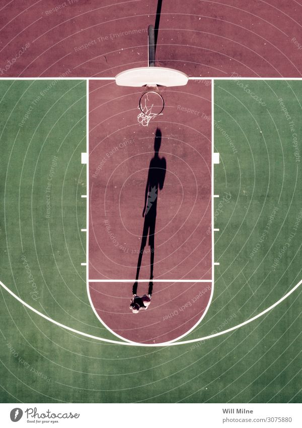Boy Standing at Free Throw Line of Basketball Court Shadow Boy (child) Child Youth (Young adults) Youth culture Court building City life Ball Playing Hold Shoot