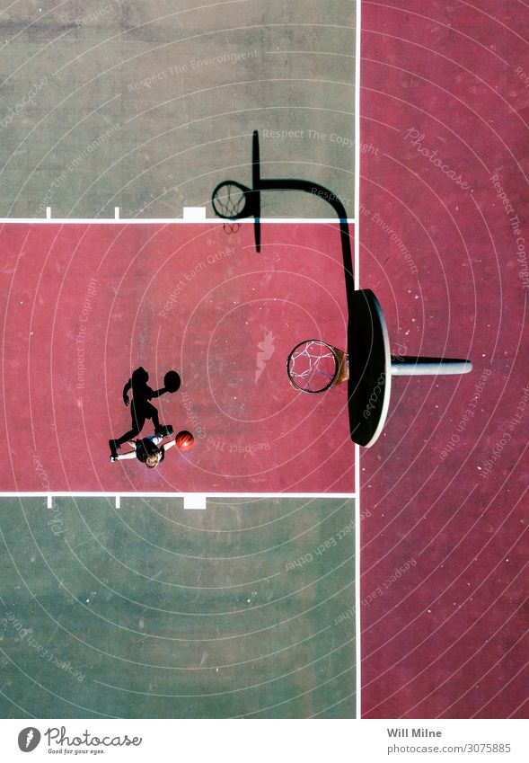 Basketball Player from Above Ball Playing Court building Green Red Shadow City life Youth (Young adults) Youth culture Exterior shot Jump Sports