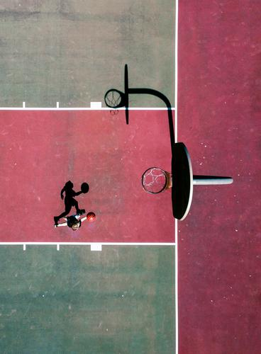 Basketball Player from Above Youth (Young adults) Green Red Sports Playing City life Jump Youth culture Ball Court building