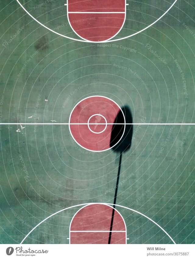 Basketball Court from Above Ball Sports Court building Shadow Basketball arena Basketball basket Aircraft Drone Green City life Playing