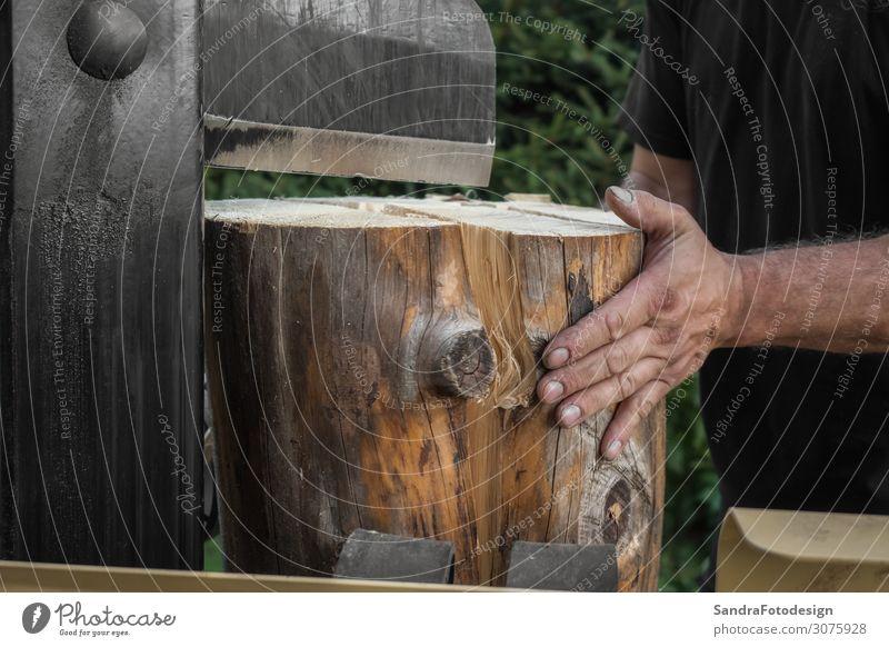 Firewood split with wooden splitter 1 Human being Nature Wood Work and employment Power Splinter splitting Split machine steel timber work bark lumber tree