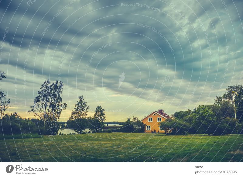 Swedish thriller Vacation & Travel Freedom House (Residential Structure) Environment Nature Landscape Sky Clouds Storm clouds Climate Tree Bushes Meadow