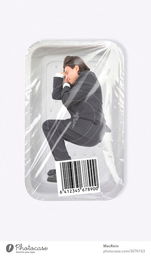 Rivets in pinstripes Business Man Adults Packaging Lie Sleep Packing film Businesspeople Packaging material Inscribe Signs and labeling Packaged