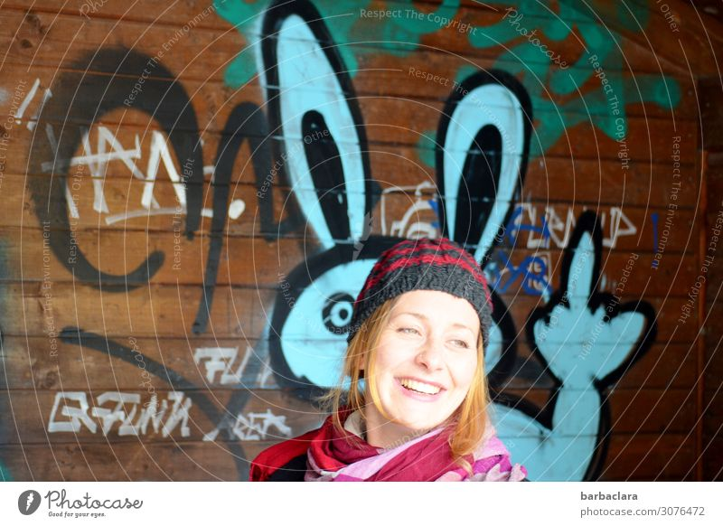 Woman Human being Colour Joy Adults Graffiti Wall (building) Funny Feminine Laughter Wall (barrier) Facade Moody Leisure and hobbies Characters Happiness