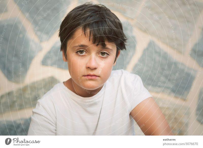 Portrait of sad little boy Human being Masculine Boy (child) Infancy 1 8 - 13 years Child Think Fitness Sadness Gloomy Anger Emotions Moody Boredom Longing