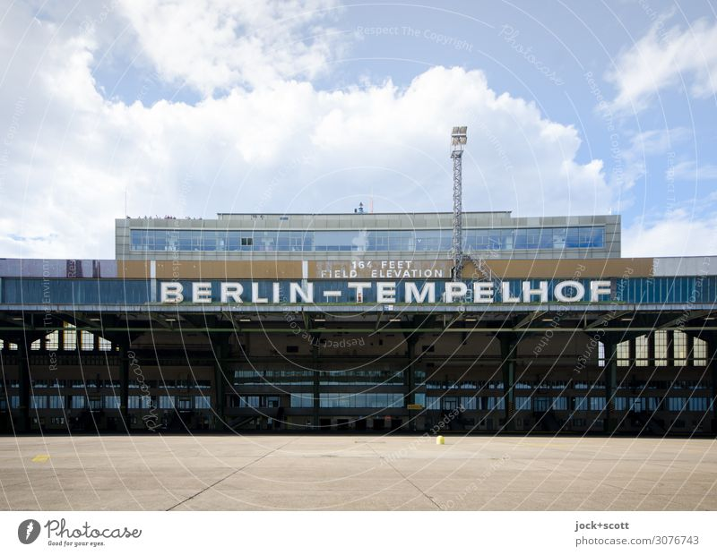 Airport Tempelhof Sightseeing Architecture Sky Clouds Airport Berlin-Tempelhof Departure lounge Tourist Attraction Airfield Characters Famousness Sharp-edged