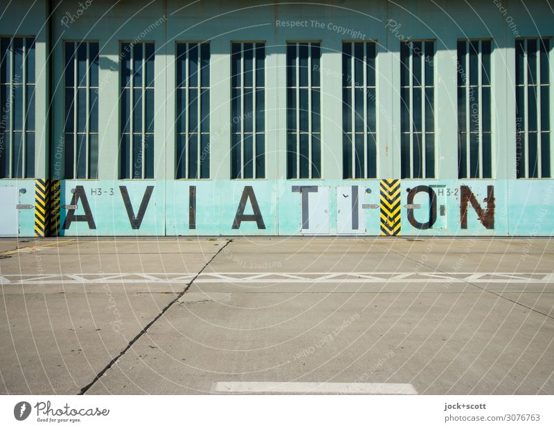 AVIATION Airport Berlin-Tempelhof Hangar Goal Tourist Attraction Airfield Concrete Metal Stripe Word English Sharp-edged great Historic Retro turquoise