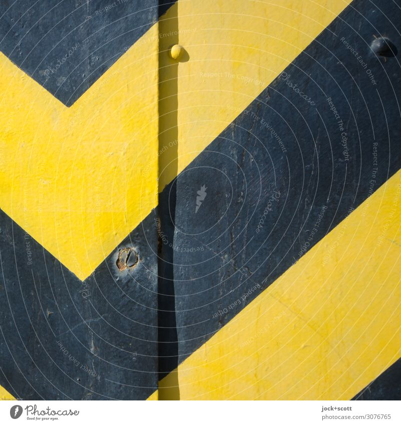 S/G Illustration Metal Stripe Warning colour Authentic Simple Retro Yellow Black Safety Design Style Symmetry Varnish Diagonal Rivet Corner Geometry Surface