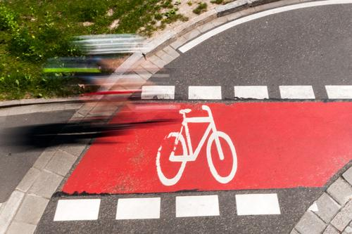 cycle path Leisure and hobbies Cycling 1 Human being Summer Meadow Transport Means of transport Traffic infrastructure Road traffic Lanes & trails Cycle path