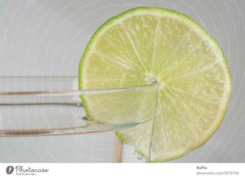 Refreshing drink with lime. Lemon Lemons oranges lemon Lemon juice Fruit tropical fruit Acid acid vitamins Healthy food food products Nutrition Juicer Beverage