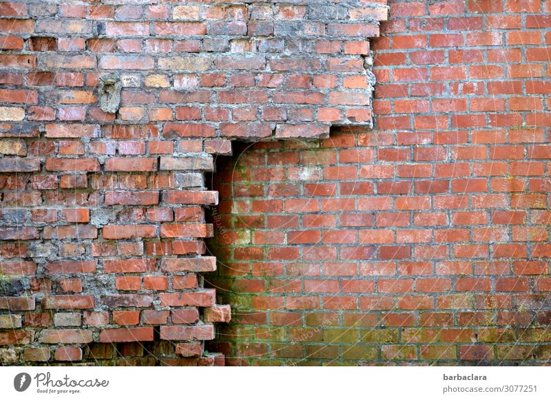 Old buildings that do not collapse Industrial plant Factory Building Wall (barrier) Wall (building) Facade Stone Brick Line Red Protection Decline Transience