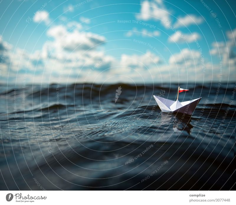 small paper ship in big waves Joy Healthy Alternative medicine Swimming & Bathing Leisure and hobbies Playing Handicraft Model-making Vacation & Travel