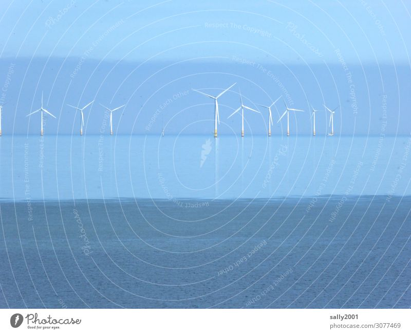 The power of the wind... wind power offshore Pinwheel Wind offshore wind farm electricity Energy Sustainability Wind energy plant Renewable energy