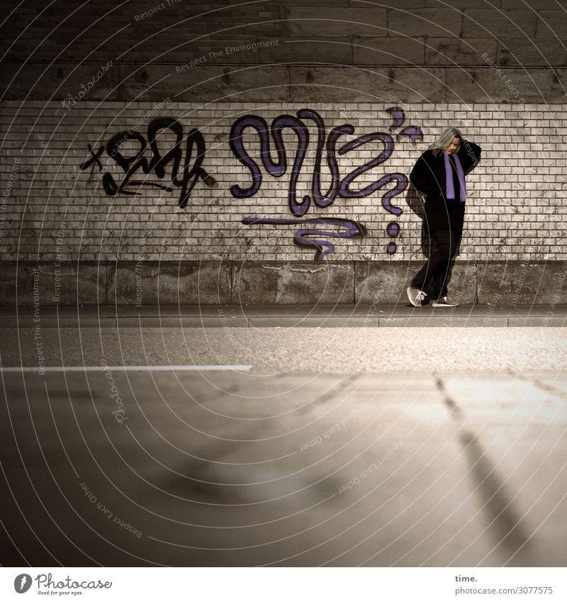 Woman Human being Town Dark Street Adults Graffiti Wall (building) Feminine Time Wall (barrier) Think Transport Blonde Stand Wait
