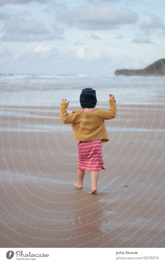 beach run juhu girl Feminine Toddler Girl 1 Human being 3 - 8 years Child Infancy Nature Sand Water Clouds Summer Wind Waves Coast Beach Dress Jacket Cap