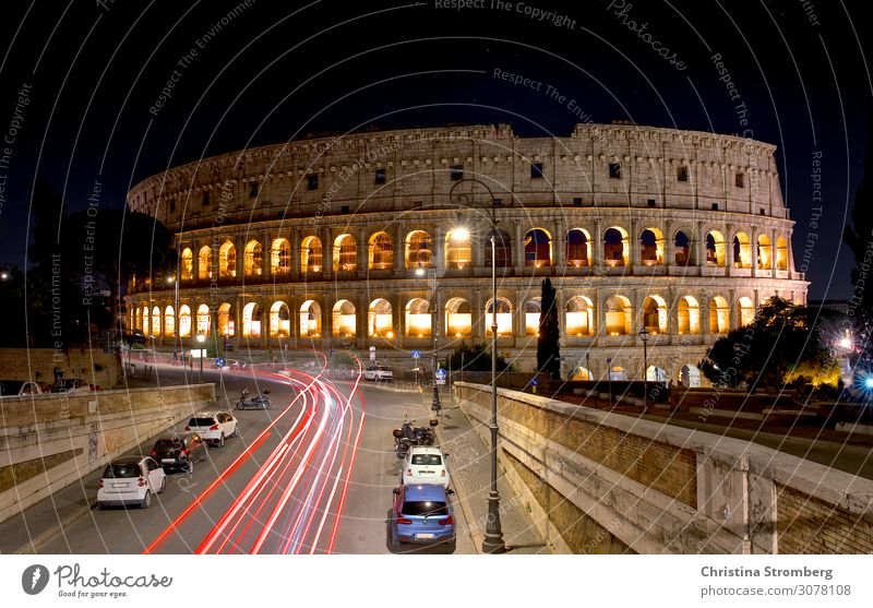 Colosseum at night Architecture Culture Rome Italy Europe Town Capital city Manmade structures Arena Facade Tourist Attraction Landmark Old Historic Tourism