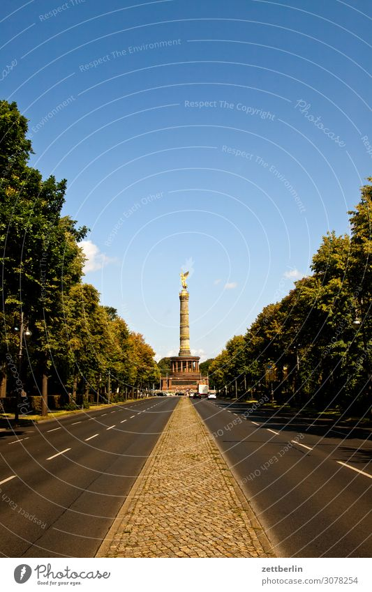 Victory column again Evening Berlin Monument Germany Twilight else Closing time Figure Goldelse victory statue big star Capital city Deserted Middle Copy Space