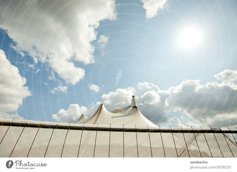 Circus again Sky Heaven Culture Deserted Summer Copy Space Shows Fence Tent Circus tent Circus ring Clouds Weather Worm's-eye view Sun Back-light Dazzle Flashy