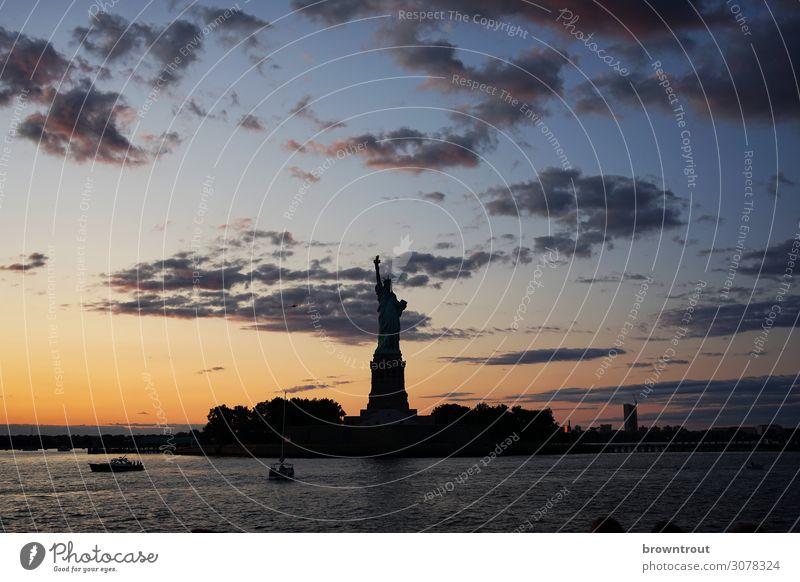 Statue of Liberty in the Last Evening Light Sculpture New York City American Flag Port City Landmark Harbour Self-confident Power Brave Curiosity Hope Longing