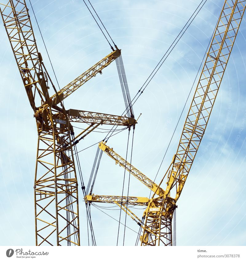 City giraffes (1) Work and employment Workplace Construction site Craft (trade) Sky Clouds Beautiful weather Crane Metal Line Together Passion Watchfulness