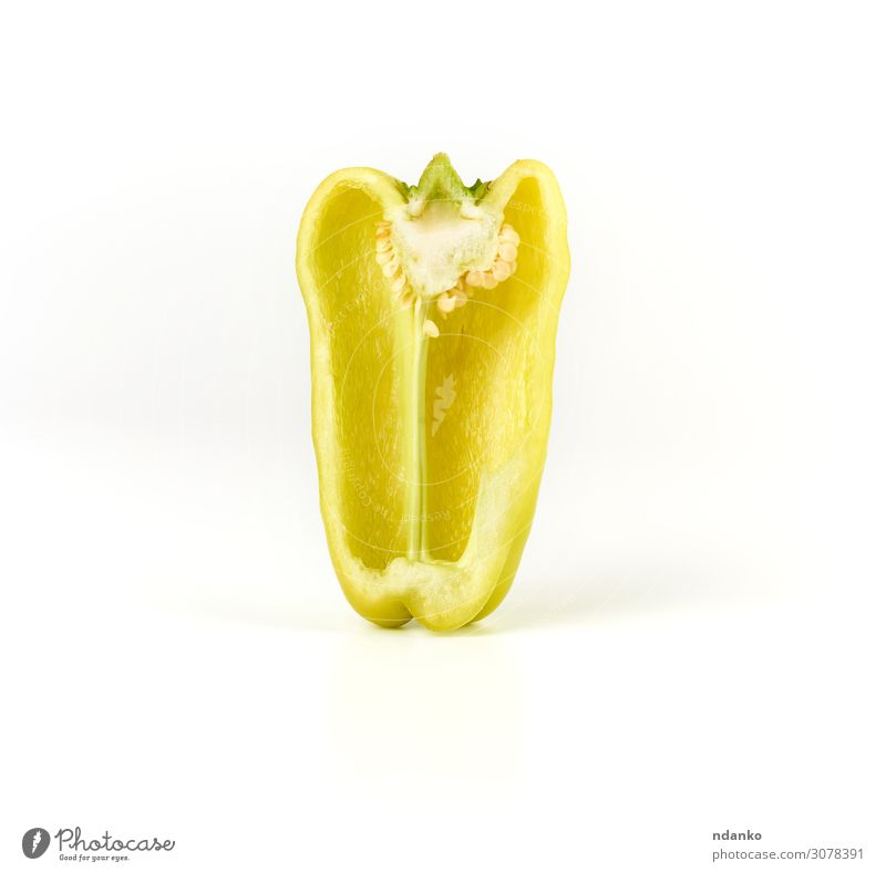 half green pepper on a white background Vegetable Fruit Nutrition Vegetarian diet Diet Skin Nature Plant Eating Glittering Fresh Juicy Yellow Green White
