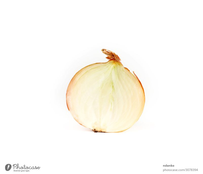 half onion in brown husk on a white background Vegetable Herbs and spices Plant Eating Fresh Juicy Mature Onion food Sliced Ingredients Half Culinary healthy