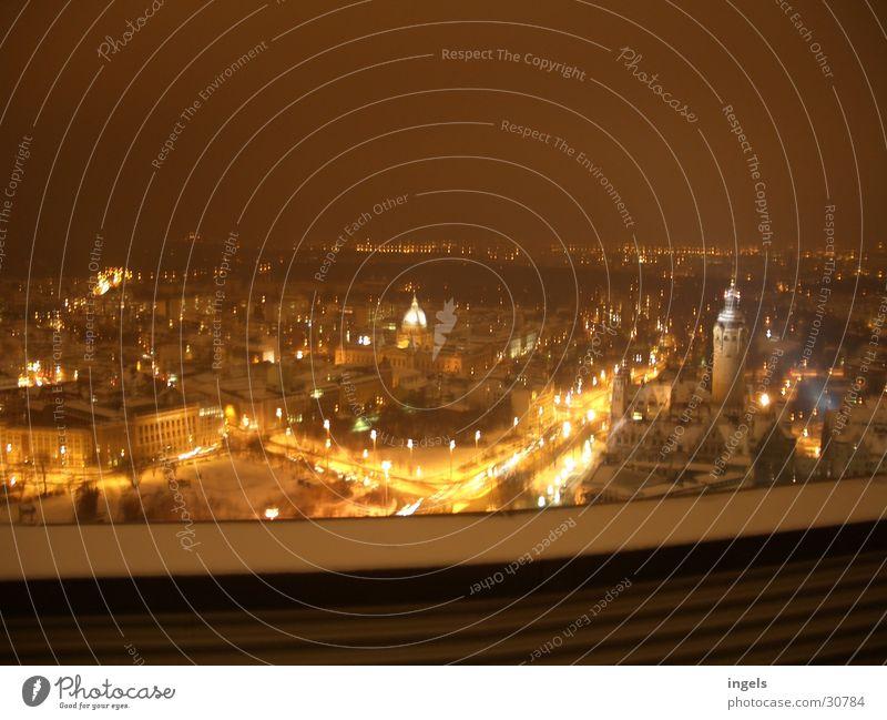 Leipzig at night Light Night Dark City life Transport Life Energy industry