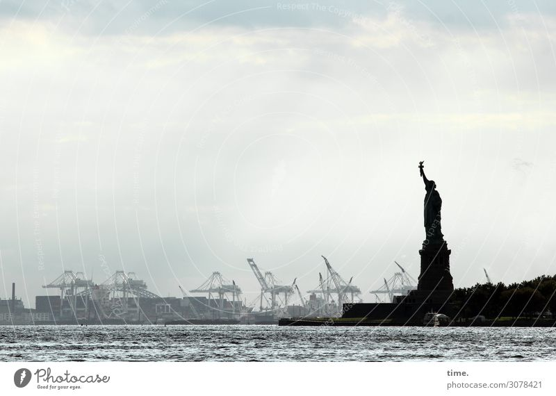 port conductor Work and employment Workplace Trade Logistics Art Water Sky Clouds Autumn Weather Coast River bank Hudson River New York City Skyline Crane