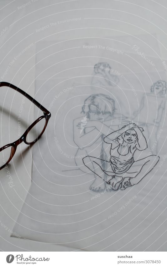 traced only (5) Drawing Earmarked initialed Art Artist Translucent Transparent Woman Sit Paper overlying Multicoloured line drawing Portrait photograph Media