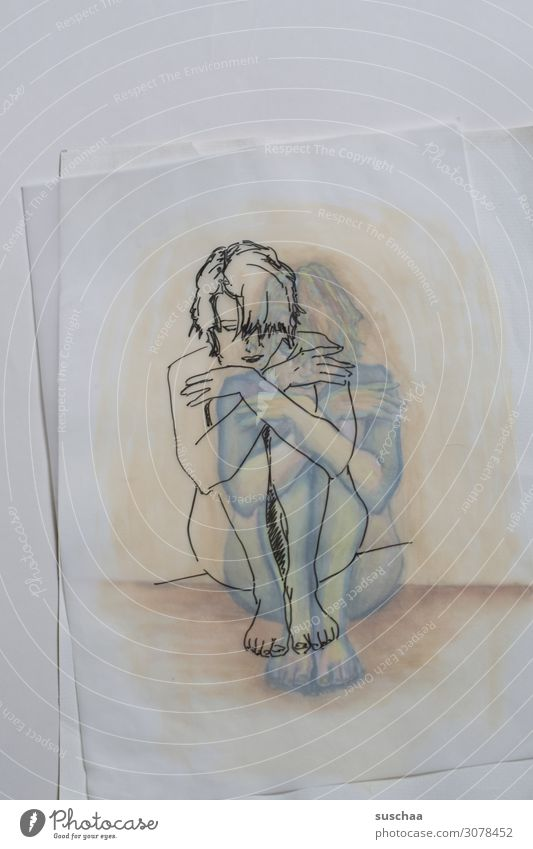 traced only Drawing Earmarked Painting (action, artwork) initialed Art Artist Translucent Transparent Woman Sit Paper overlying colored line drawing