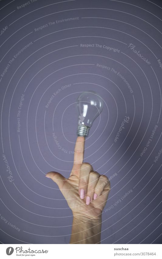 illumination (without light) Idea Hand Wall (building) Fingers Forefinger Electric bulb enlightenment incursion symbolic Light Neutral background Copy Space