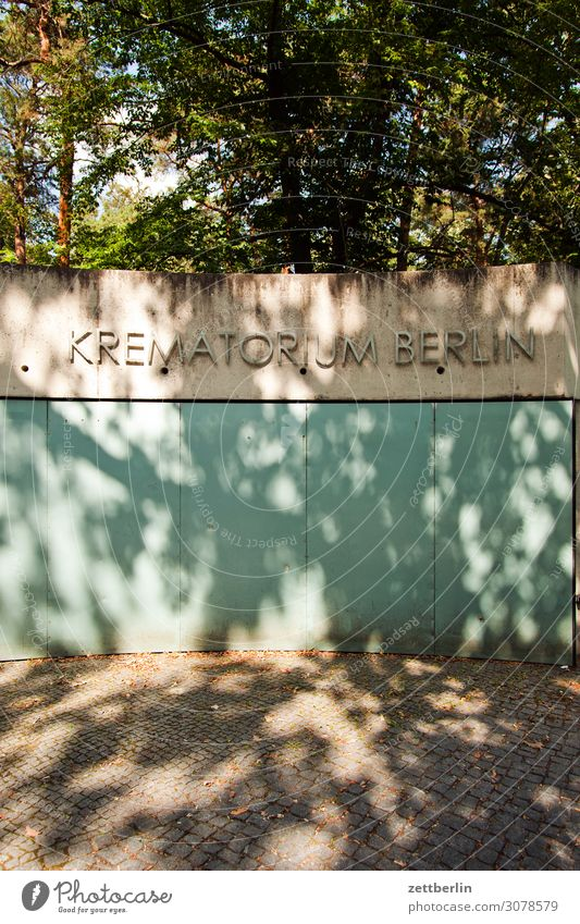 Crematorium Berlin Capital city Deserted Town Copy Space City life Wall (barrier) Characters Inscription Information Funeral Death Wall (building)