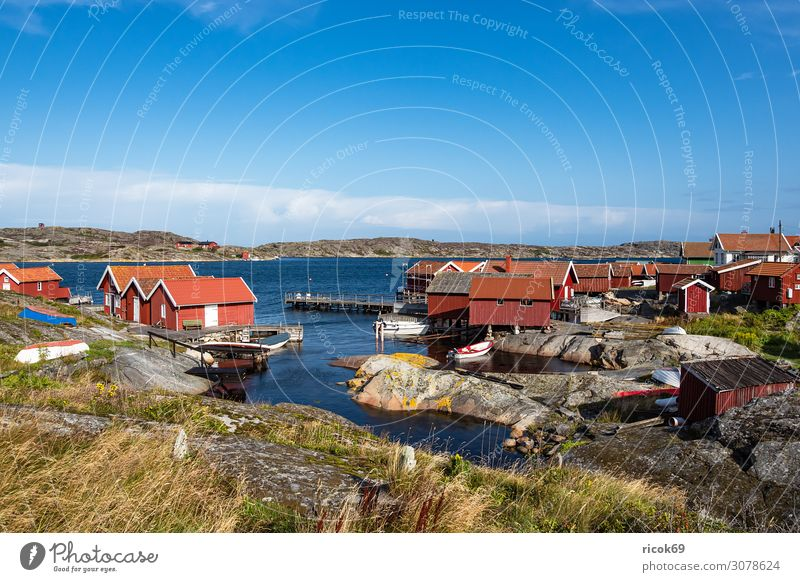 View of the island Käringön in Sweden Relaxation Vacation & Travel Tourism Summer Ocean Island House (Residential Structure) Nature Landscape Water Clouds Rock