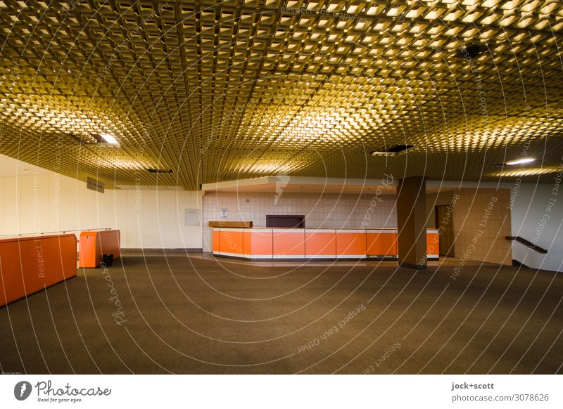 Lobby Interior design Services Architecture Airport Berlin-Tempelhof Building Foyer Disk Carpet Counter Network Illuminate Free Large Retro Brown Moody Calm
