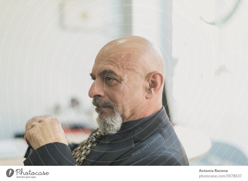 Mature senior man boss thinking in office Relaxation Workplace Business Human being Man Adults Suit Bald or shaved head Old Businessman handsome 60s 50s