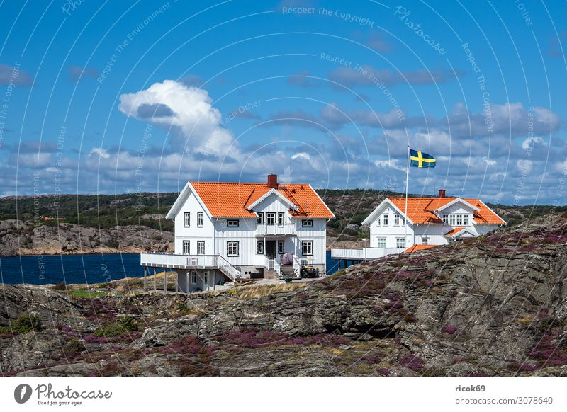 View of the island Dyrön in Sweden Relaxation Vacation & Travel Tourism Summer Ocean Island House (Residential Structure) Nature Landscape Water Clouds Rock