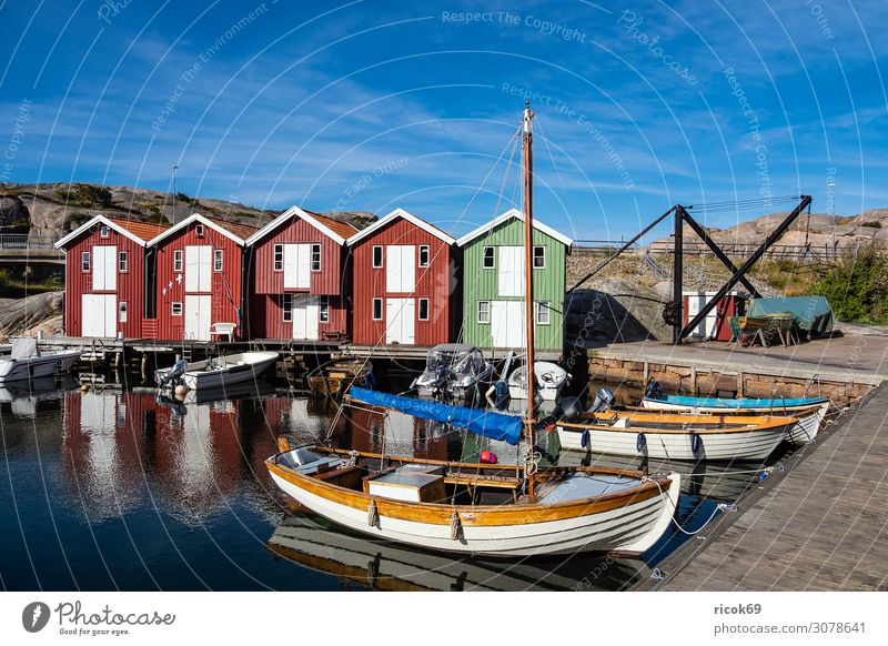 View of the village Smögen in Sweden Relaxation Vacation & Travel Tourism Summer Ocean House (Residential Structure) Nature Landscape Water Clouds Rock Coast