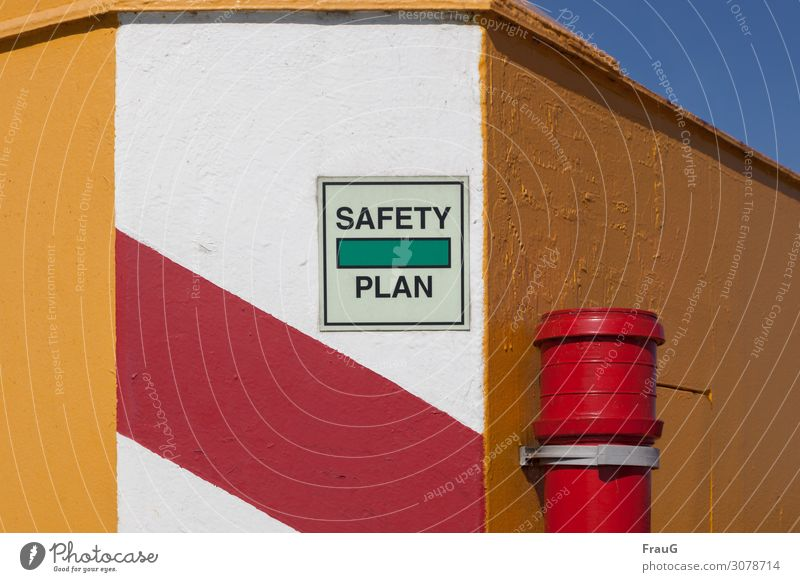safety plan Building Wall (barrier) Wall (building) Downspout Characters Signs and labeling Stripe Multicoloured Safety Protection Clue Signage Dye