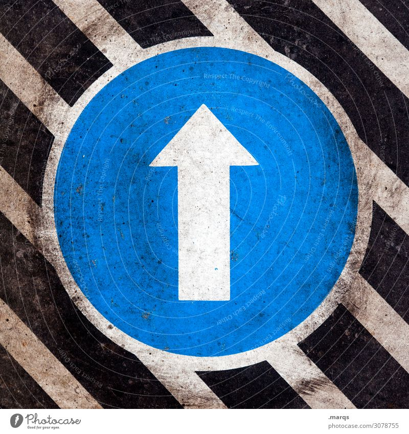 Level up Transport Sign Road sign Line Arrow Dirty Blue Black White Target Above Direction Orientation Colour photo Close-up Pattern Deserted