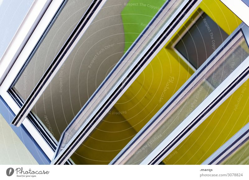 airing Style Design Living or residing Window Line Bright Hip & trendy Modern New Yellow Green Black White Colour Perspective Ventilate Tilt Colour photo