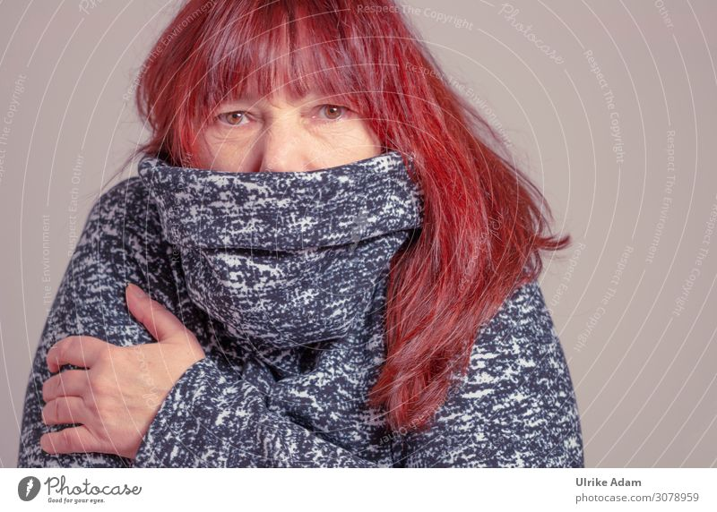 Masked - face mask in winter Scarf eyes red hair Long-haired Sweater Winter corona Mouth and nose cover Mouth and nose mask Freeze Cold warm clothing brown eyes