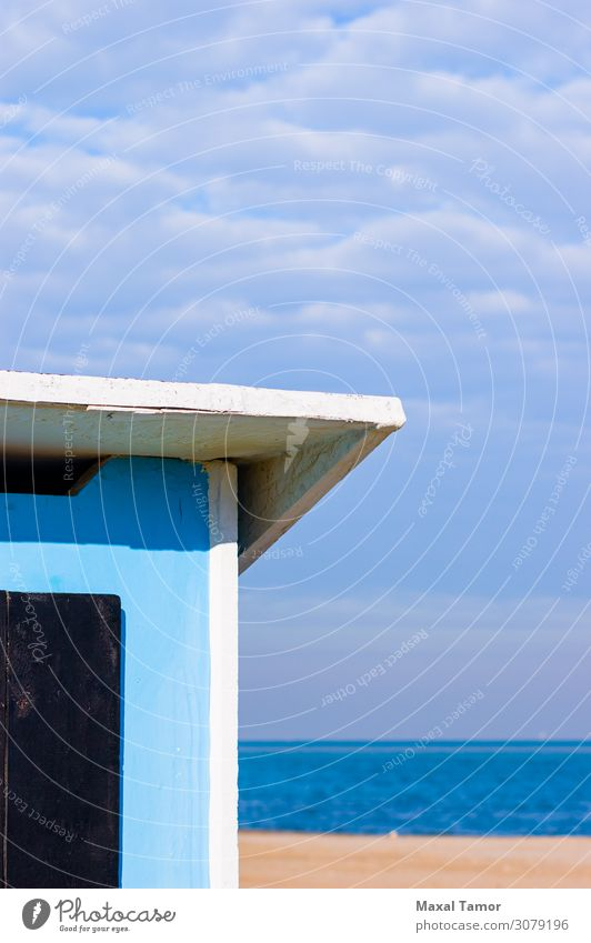 Abstract view of a blue shelter on the Adriatic sea Relaxation Leisure and hobbies Vacation & Travel Tourism Summer Beach Ocean Nature Landscape Sand Sky Clouds