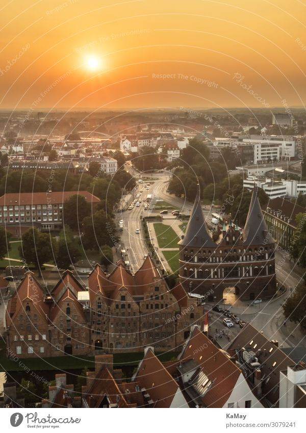 Lübeck at sunset Tourism Far-off places Sightseeing City trip Schleswig-Holstein Germany Europe Town Old town Manmade structures Building Architecture