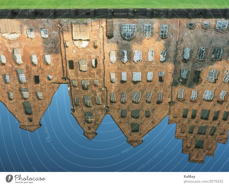 Reflection of the Lübeck salt reservoirs Tourism Sightseeing Water River Trave Schleswig-Holstein Germany Europe Manmade structures Building Architecture Depot